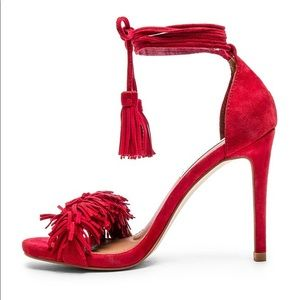 Steve Madden red suede fringe tie up heels